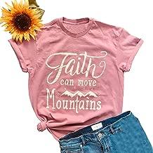 Anbech Faith Can Move Mountains Shirt Women Summer Short Sleeve Crew Neck Casual Tee Tops