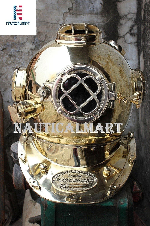 NAUTICALMART Vintage Boston Mass Solid Brass US Navy Divers Diving Helmet Full Size Riplica