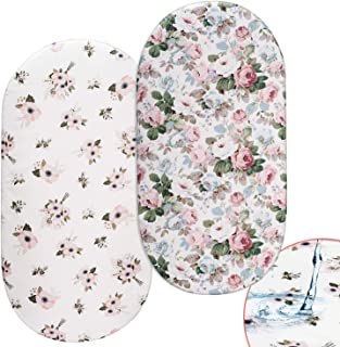 Momcozy Floral Bassinet Sheets, 2 Pack Waterproof Sheet Set for Baby Girls, Fit for Bassinet Mattress Pad Cover, Like Oval Halo, Chicco Lullago, Arms Reach, Ingenuity