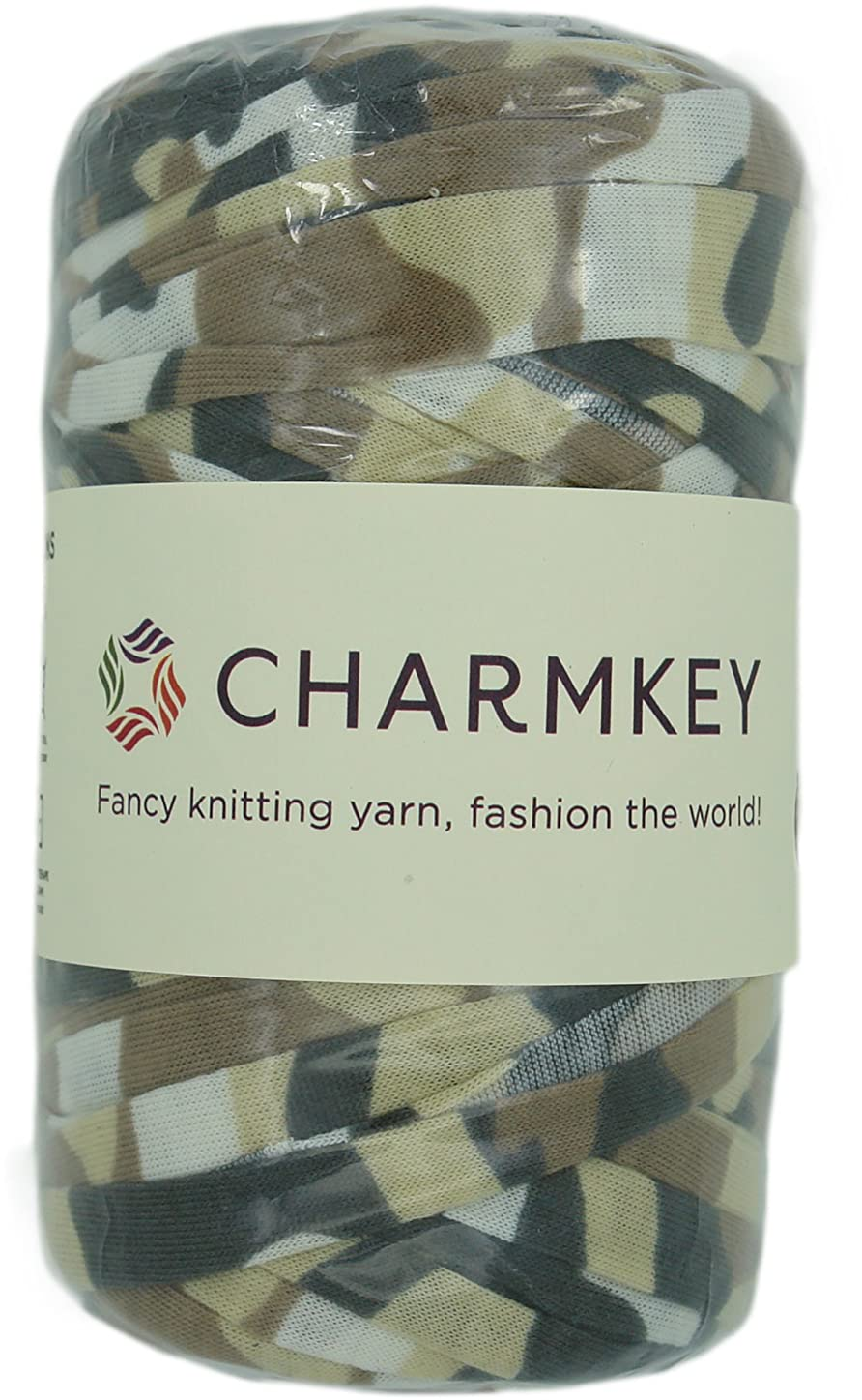 Charmkey Camouflage Print Yarn 6 Super Chunky Natural Soft Cotton Blend Ribbon T Shirt Yarn Elastic Knitting Cloth Fabric for Bags Cushion DIY Handicraft, 1 Skein, 7.05 Oounce (Desert Sand) pkwmxlm291960