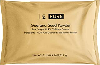 Natural Guarana Seed Powder, 8 oz, 400 mg Serving, Source of Caffeine, Energy Booster, Raw & Vegan, Gluten-Free, Superfood...