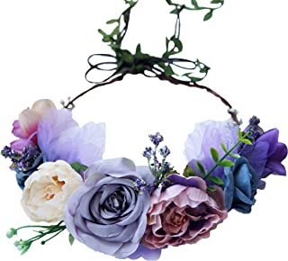 Vivivalue Boho Flower Headband Hair Wreath Floral Garland Crown Halo Headpiece with Ribbon Wedding Festival Party