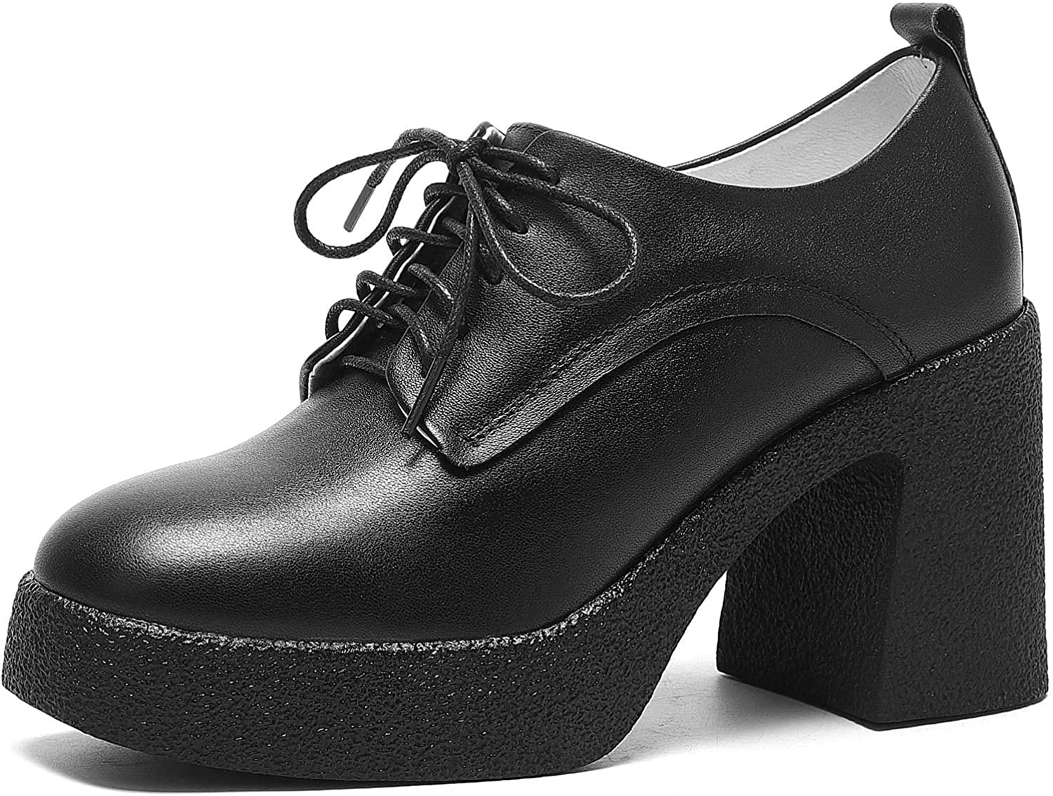 WuORWu Women's Pumps Chunky Selling and selling Heels Oxford Shoes Platform NEW before selling Black An