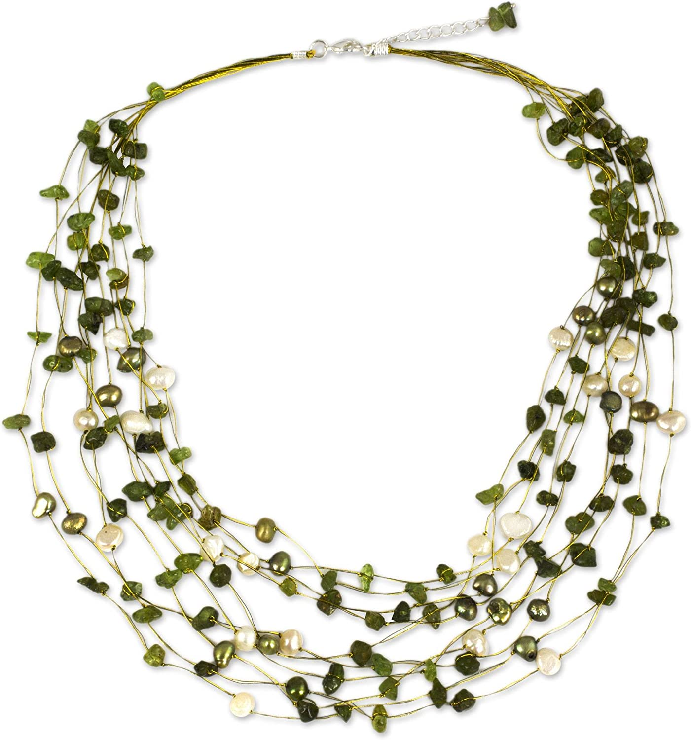 NOVICA Peridot and Dyed Cultured Freshwater Pearl Strand Necklace, 20
