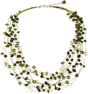 Peridot and Dyed Cultured Freshwater Pearl Strand Necklace, 20