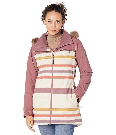 Burton Lelah Jacket (Rose Brown/Creme Brulee Woven Stripe) Women