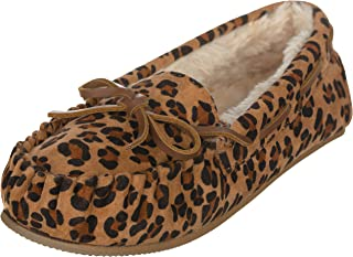 CLOVERLY Women's Moccasin Slipper Vegan Suede Faux Fur Lined Indoor & Outdoor Moccasins Slip On Loafers Moccasins Shoes