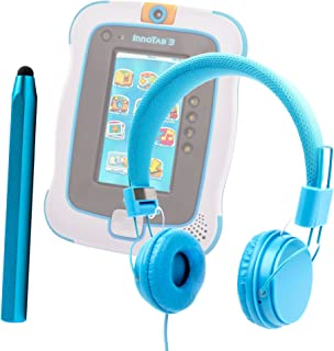 DURAGADGET Vtech Innotab 3 / 3S - Bright Blue Ultra-Stylish Kids Fashion Headphones with Padded Design, Button Remote & Microphone Compatible With Vtech Innotab 3 Kids Tablet + BONUS Matching Stylus! …