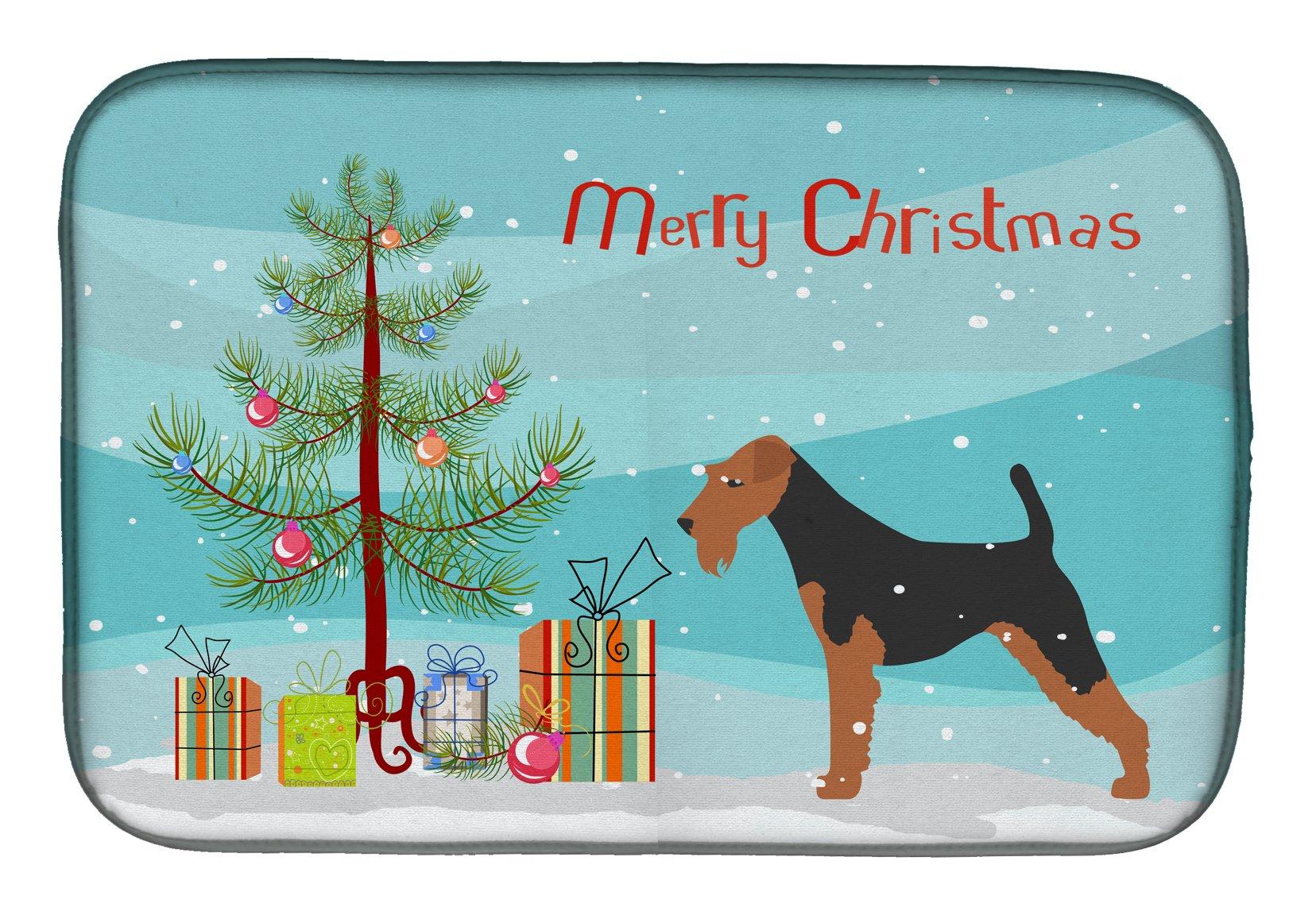 Multicolor 7.5HX7.5W Carolines Treasures BB3685PTHD Welsh Terrier Checkerboard Blue Pair of Pot Holders