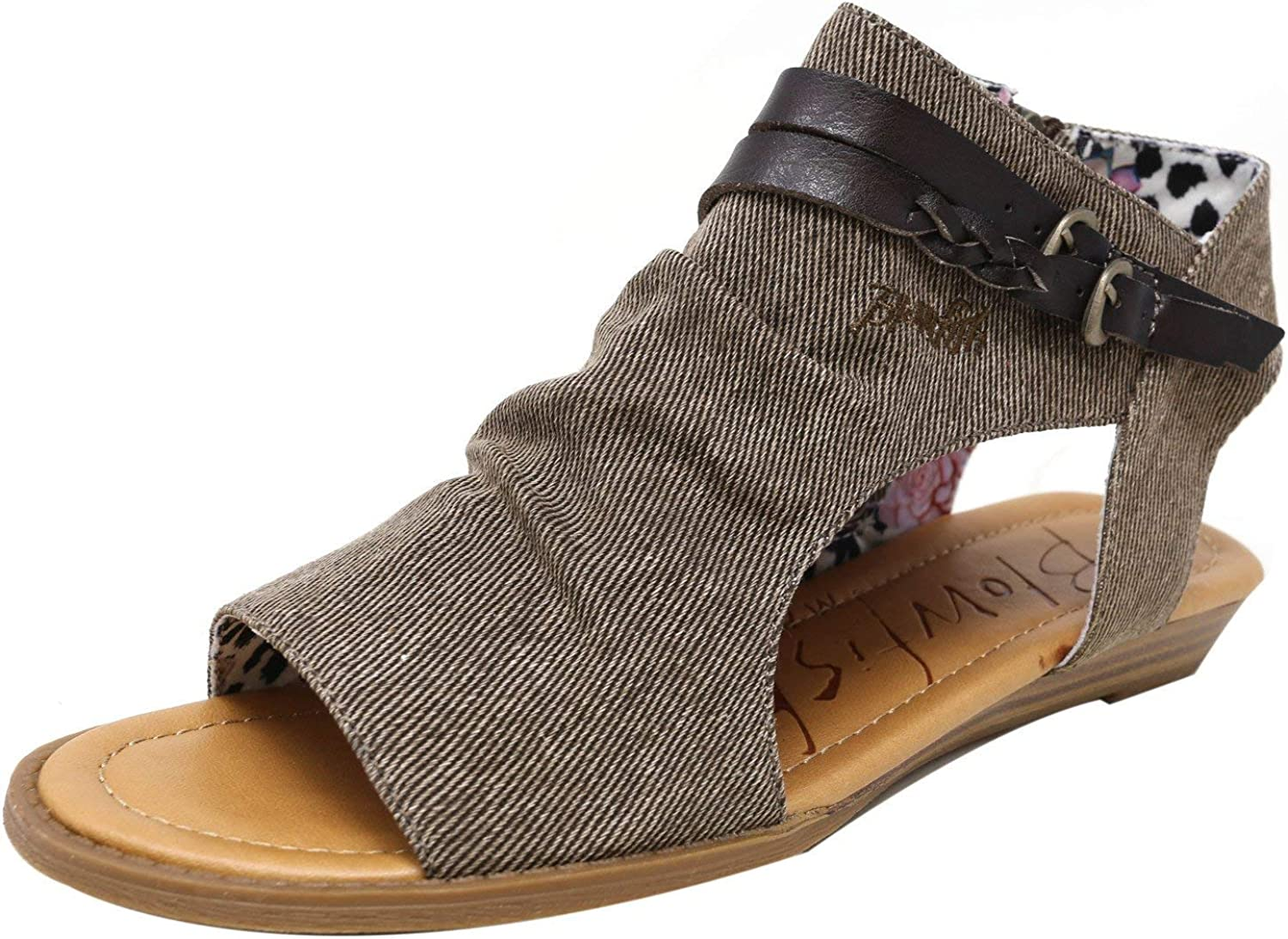 Blowfish Women's bluemoon Tobacco Dyecut Ankle-High Fabric Wedged Sandal