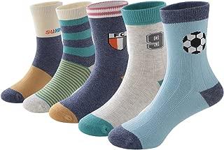 SUNBVE Baby Toddler Little Boys' Football Club Cotton Crew Socks 5 Pairs Pack