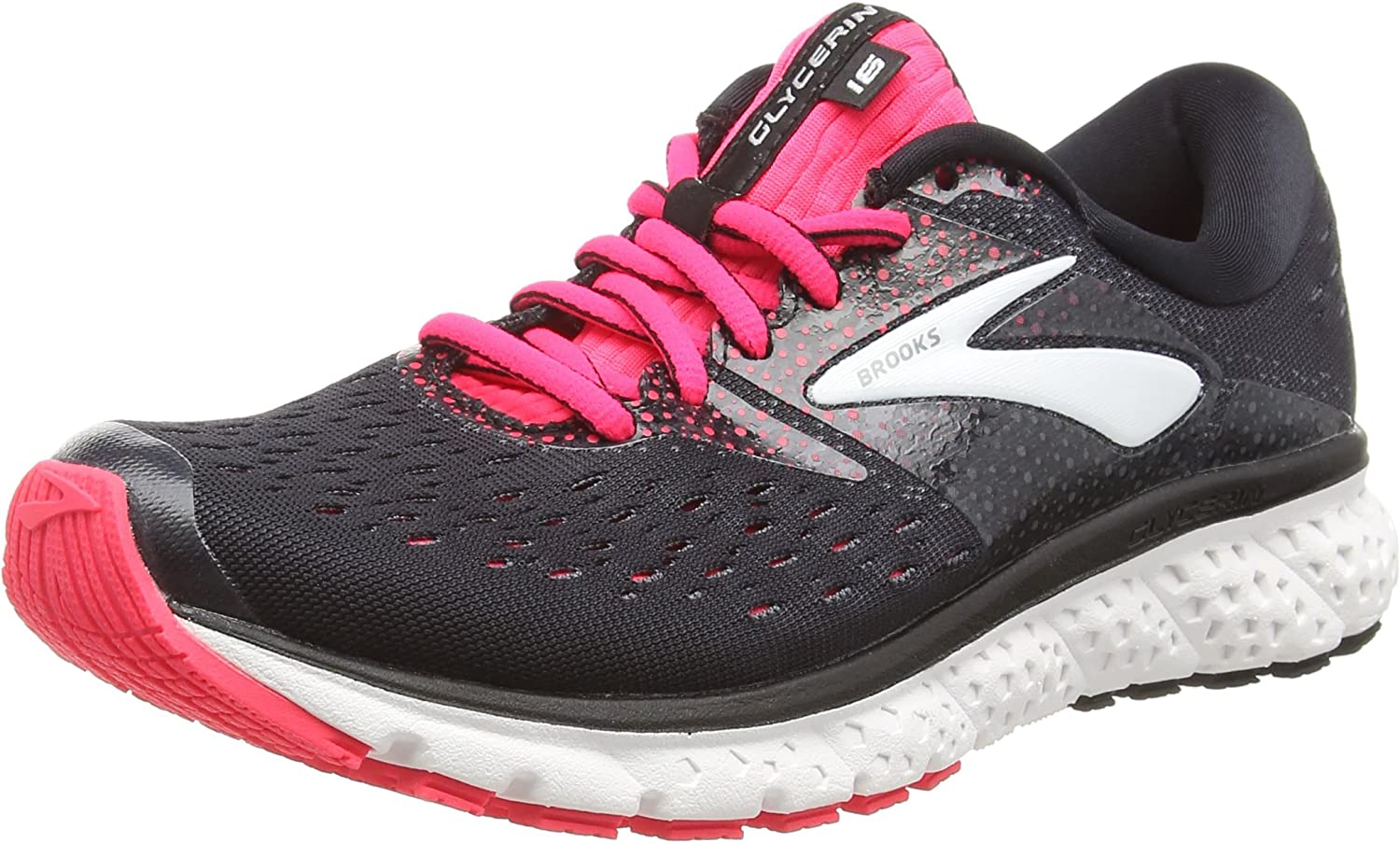 Brooks Women's Glycerin 16 Running shoes (BRK-120278 1B 4080670 8 (070) BLK PNK Gry)