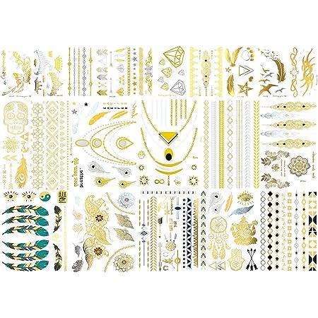 METALLIC TEMPORARY TATTOO SHEET Gold//Silver Bird Feather Boho Festival Rave