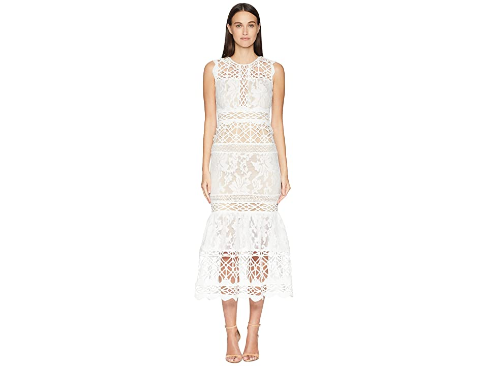 ML Monique Lhuillier Fitted Lace Cocktail Dress (Ivory/Nude) Women