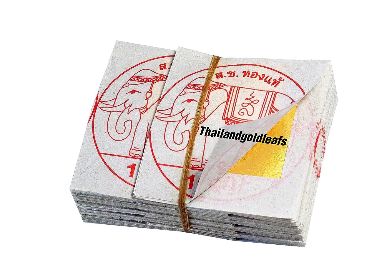 100 Edible Gold Leaf Sheets 24K 100% Pure 18 x 18 MM Cake Decoration Macaroon Dessert Drink By THAILANDGOLDLEAFS