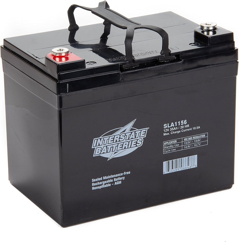 Interstate Batteries 12V 35Ah (SLA1156) Sealed Lead Acid Rechargeable SLA AGM Battery (Insert Terminal) Construction, Electric Stations, Backup Energy Storage