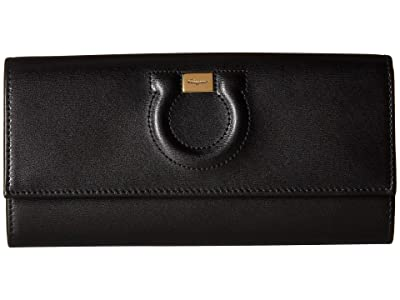 Salvatore Ferragamo Gancio Leather Continental Wallet (Nero) Handbags
