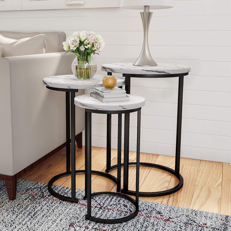 "Lavish Home Round Nesting Tables, Largest Dimensions: (Diameter) 17.75""x (H) 25"" Medium: (D) 15.75""x (H) 22.5"" Small: (D) 12""x (H) 20.25"", White: Furniture & Decor"
