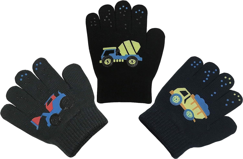 NIce Caps Boys Magic Stretch Gloves 3 Pair Pack Assortment