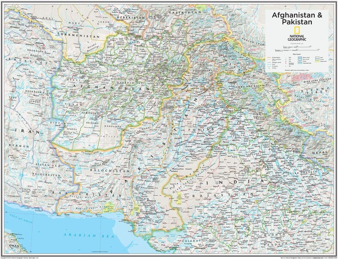 National Geographic: OFFicial Kansas City Mall Afghanistan Pakistan Wall Map 22 28 x i -