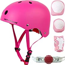 Kids Helmet with Protective Gear for Skateboard Scooter Skating Bicycle Bike Cycling - Adjustable to Fit Heads from Age 3 to 7 - Include Knee Elbow Pads Wrist Guards