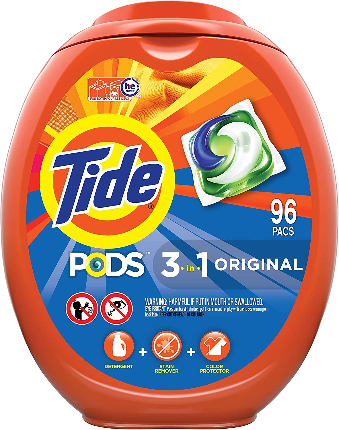 Tide PODS Laundry Detergent Soap PODS, High Efficiency (HE), Original Scent, 96 Count : Health & Household