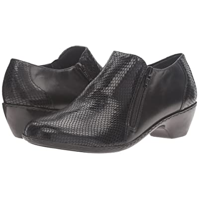 Walking Cradles Cadence (Black Leather/Black Patent Snake Print) Women