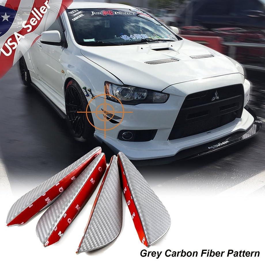 Xotic Tech Car Bumper Guard - 4pcs Matte Grey Carbon Fiber Pattern Front Bumper Lip Fins Canards Splitters Body Diffuser Universal fit
