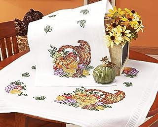 Kamaca Stickpackung Tischdecke Obst MIT KÜRBIS Kreuzstich vorgezeichnet aus Baumwolle Stickset mit Stickvorlage Tischläufer 40x100 cm