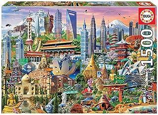 Educa Borras 17979 1500 Attractions In Asia Puzzle, Multicolor