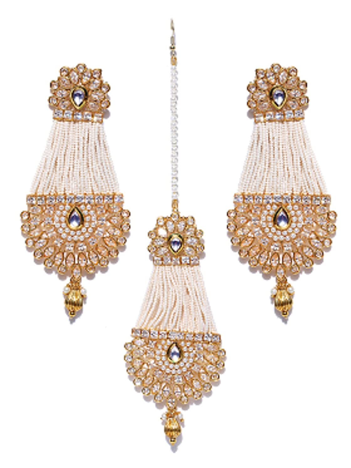 Indian Traditional Gold Plated With Pearl Polki Earrings With Tikka Set