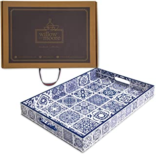 Willow & Moore Handmade Decorative Serving Tray for Coffee Tables and Ottomans - Stylish and Artisan Rectangular Wooden Trays with Handles for Meals and Cocktails, Elegant Home Decor and Gift Idea