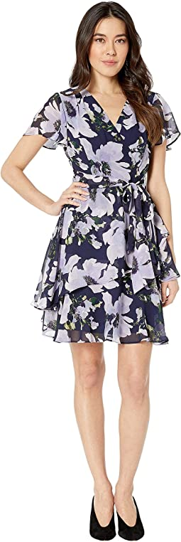 Petite Short Sleeve Side Tie Printed Chiffon Dress