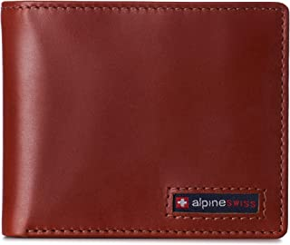 Mens RFID Blocking Cowhide Leather Wallet Bifold 2 ID Windows Divided Bill Section Comes in Gift Box