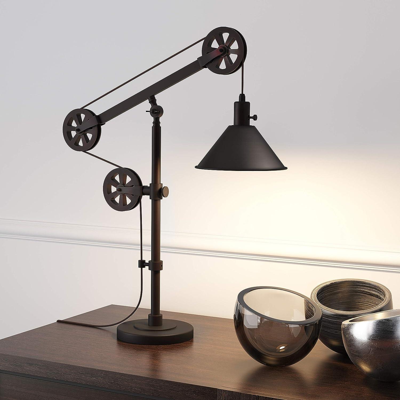 Henn&Hart TL0103 Blackened Bronze Pulley Lamp, Black