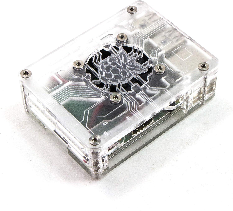 C4Labs Zebra Virtue Fan Case for Raspberry Pi 4B, 3, 2 and B+ (Crystal Mist)
