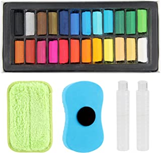 TE SIER Square Chalk Set - Soft Color Pastels Kit with Eraser and Plastic Extension Pipes - Complete Multicolor Art Suppli...
