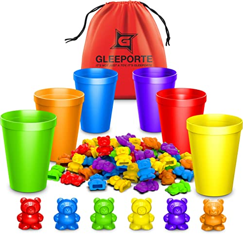 Rainbow Counting Bears With Matching Sorting Cups (67 Pcs Set) + FREE Storage Bag | STEM Educational Gift For Toddler...