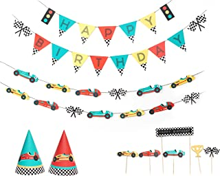 Vintage Race Car - Birthday Party Decoration Kit | 12 Guest Party | Race Car Birthday Banner, Garland, Cupcake Toppers, Pa...