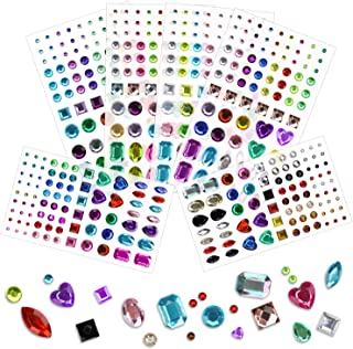 Phogary 486pcs 6 Sheets Self-Adhesive Rhinestone Sticker, Multicolor Bling Craft Jewels Crystal Gem Stickers, Assorted Size and Shapes