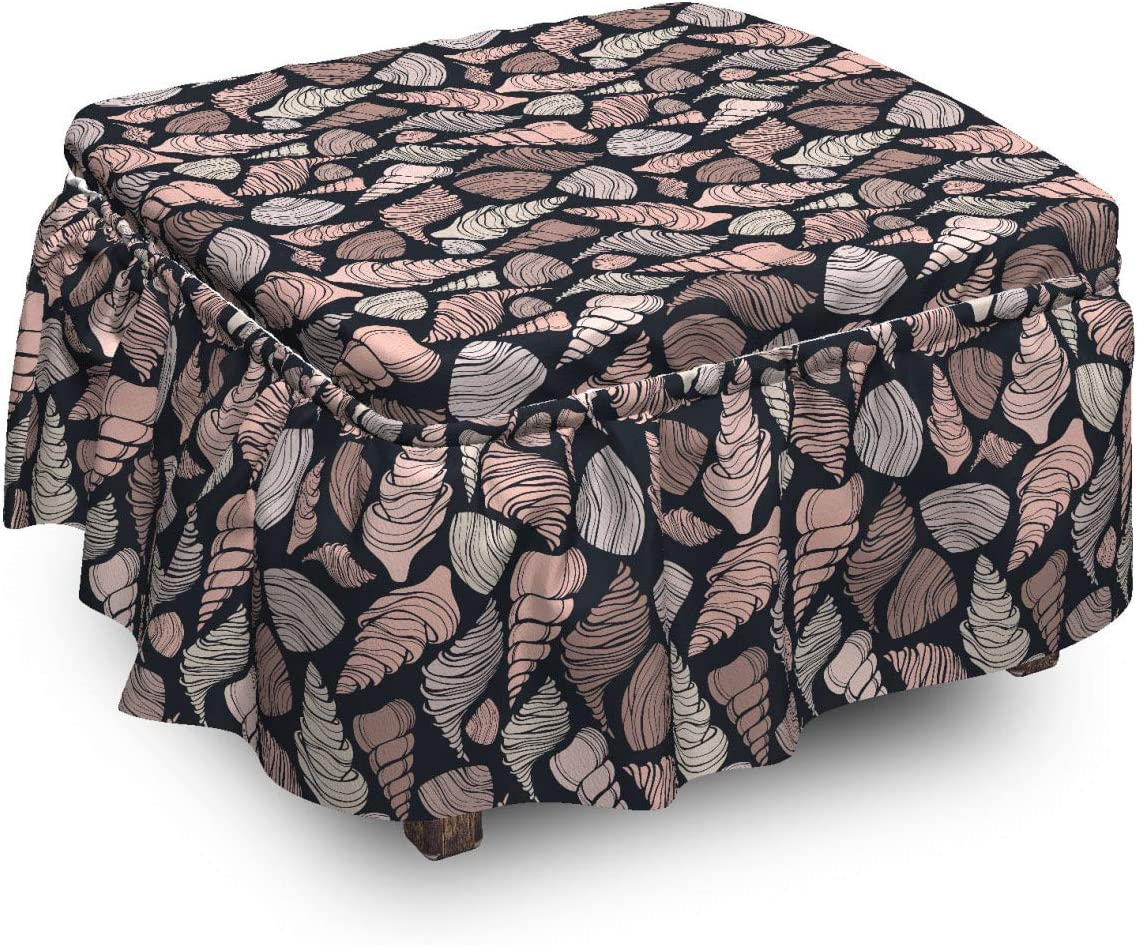 Super special price Lunarable Seashells Ottoman Cover Hand-Drawn Shells Purchase Pi 2 Brown