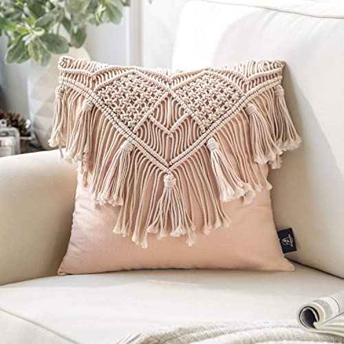 high quality Phantoscope 100% Cotton Handmade Crochet Woven Boho Throw sale Pillow Farmhouse Pillow Insert Included Decorative Cushion for Couch Sofa Pink 18 sale x 18 inches online sale