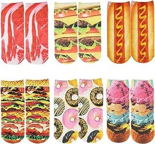 Womens Girls 3D Novelty Colorful Funny Cat Food Ankle Socks, Cute Low Cut Socks