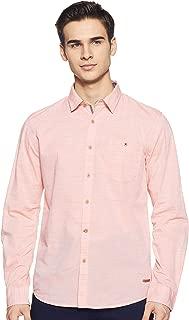 CHEROKEE Men's Striped Regular fit Casual Shirt (400020221032_Orange S)
