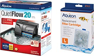 Aqueon Bundle of QuietFlow Power Aquarium Filter and 3 Replacement Aquarium Filter Cartridges