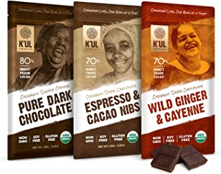 K'UL CHOCOLATE Bars | 3 Pack Chocolate | Wild Ginger & Cayenne Chocolate Bar | Espresso & Cacao Nibs Chocolate Bar | Pure Dark Chocolate | Organic, Soy-Free, Vegan, Gluten-Free, Non-Gmo | 2.8oz Each