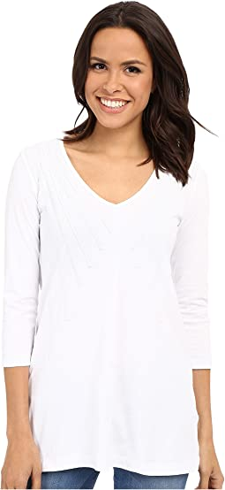 Classic Jersey Lace Layover V-Neck Tee