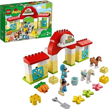 LEGO DUPLO Town Maneggio, Giocattoli per Bambini 2+ Anni, Playset con Stalla e Pony, Giochi Prima Infanzia, 10951