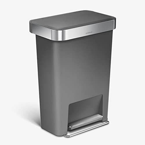 simplehuman 45 Liter Rectangular Kitchen Step Rubbish Bin with Soft-Close Lid, Grey Plastic