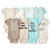 GERBER Baby Boys' 8-Pack Short-Sleeve Onesies Bodysuit, Fox, Newborn
